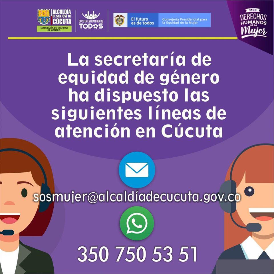 en la secretaría de equidad y género de Norte de Santander también ofrecen ayuda